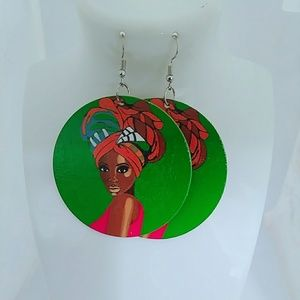 Green headwrap wooden Earrings